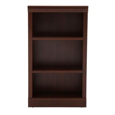 42.56 in. Dark Brown Wood Faux Wood 3-shelf Standard Bookcase with Adjustable Shelves