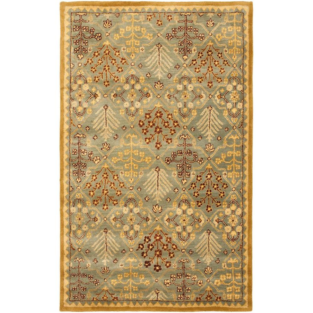 Antiquity Light Blue/Gold 6 ft. x 9 ft. Area Rug