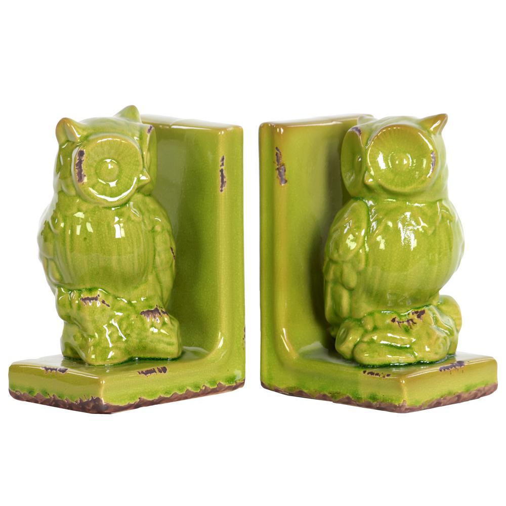 8.5 in. H Owl Decorative Figurine in Green Gloss Distressed Finish