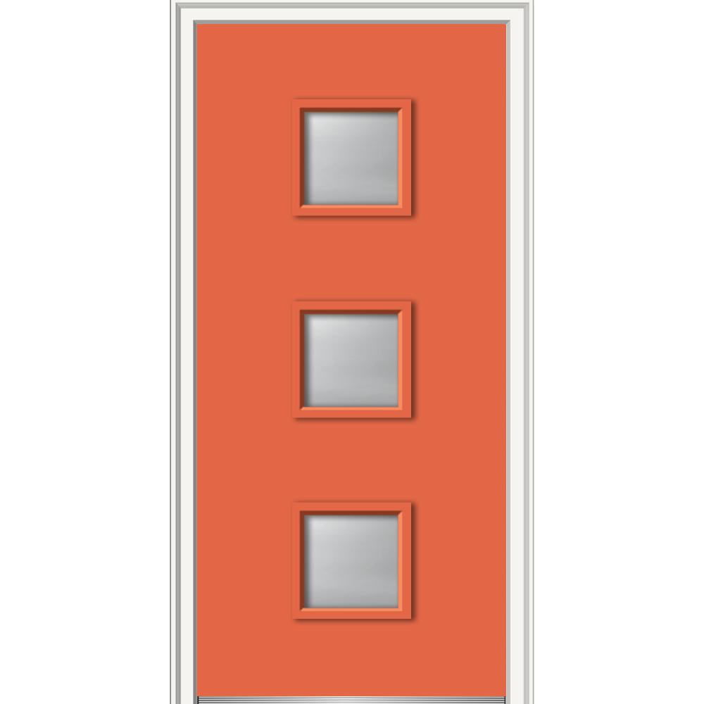 36 in. x 80 in. Aveline Left-Hand Inswing 3-Lite Frosted Glass