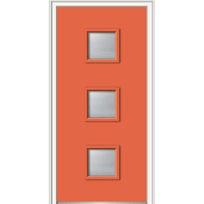 30 in. x 80 in. Aveline Low-E Right-Hand Inswing 3-Lite Clear Painted Steel Prehung Front Door on 6-9/16 in. Frame