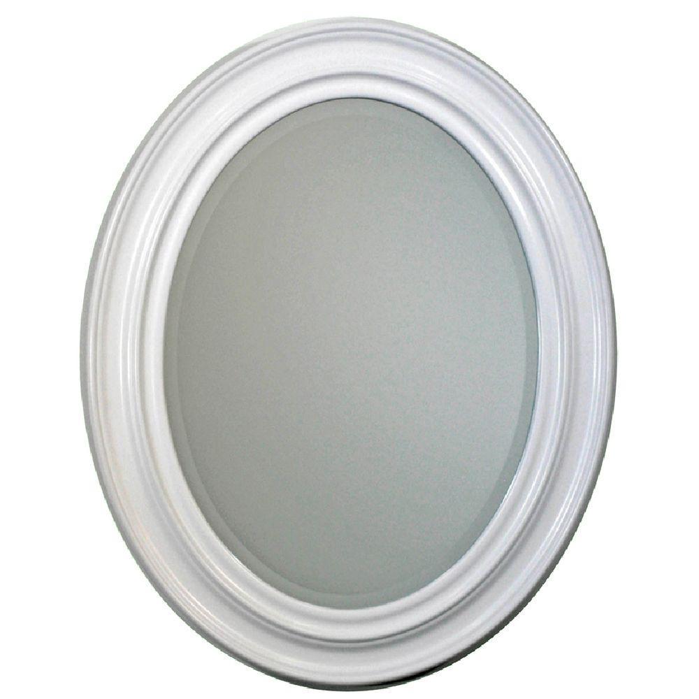 Deco Mirror 24 in. x 31 in. Sonoma Oval Mirror in White