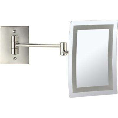 Glimmer 6.3 in. x 8.7 in. Wall Mounted LED 3x Rectangle Makeup Mirror in Satin Nickel Finish