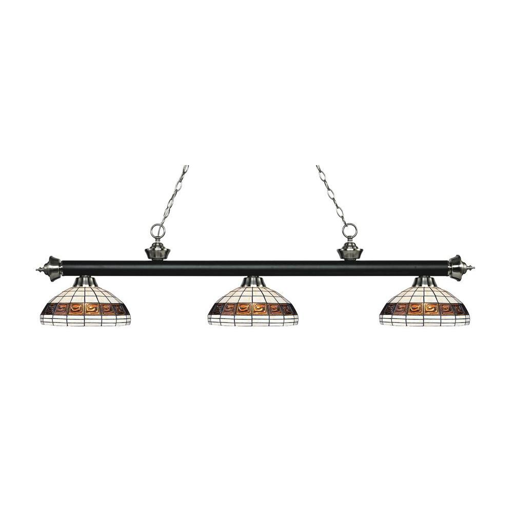 Alessandro 3-Light Matte Black and Brushed Nickel Island Light with Tiffany