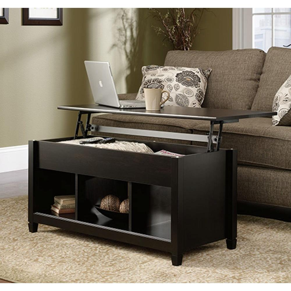 sauder edge water estate black builtin storage coffee table