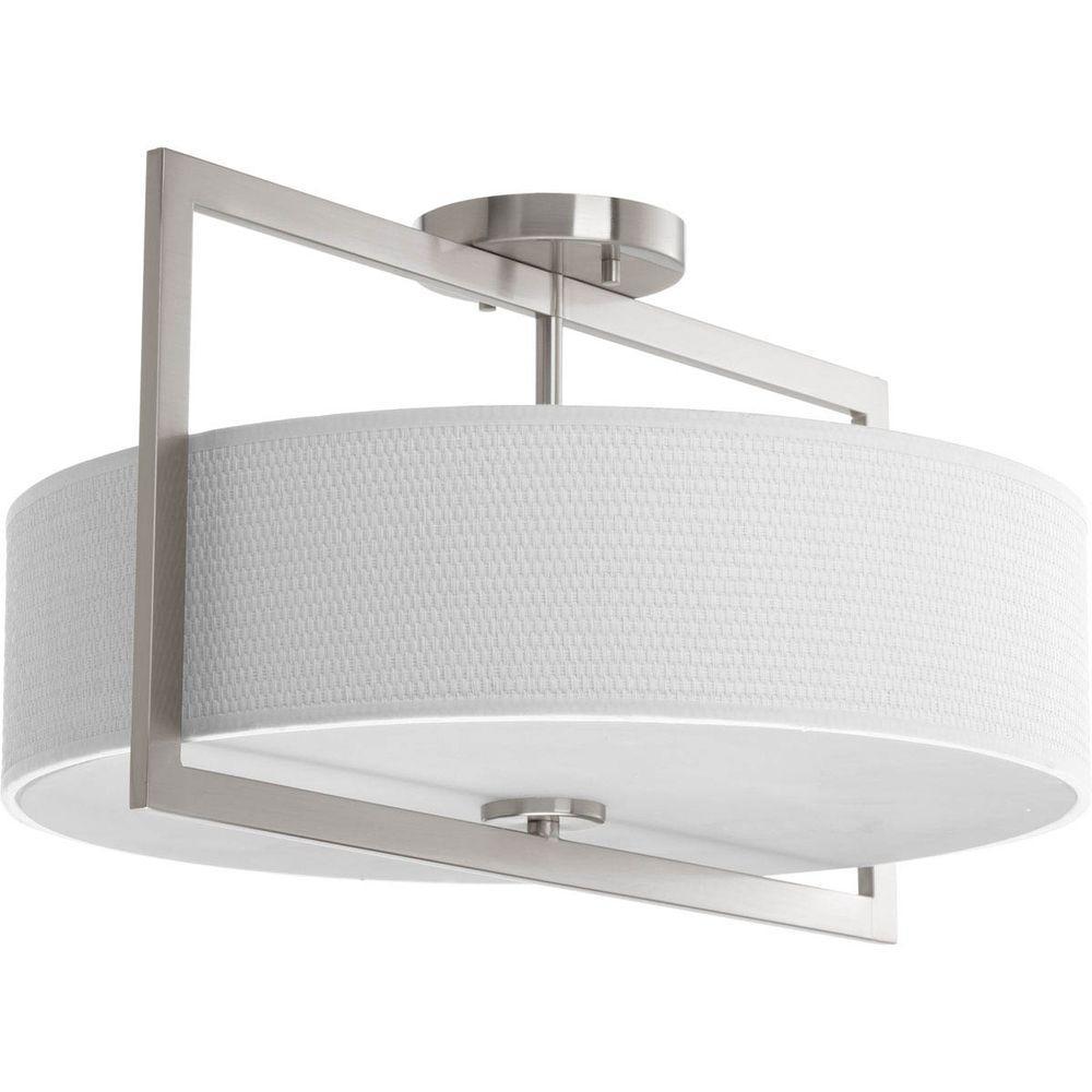 Harmony Collection 3-Light Brushed Nickel Semi Flush Mount