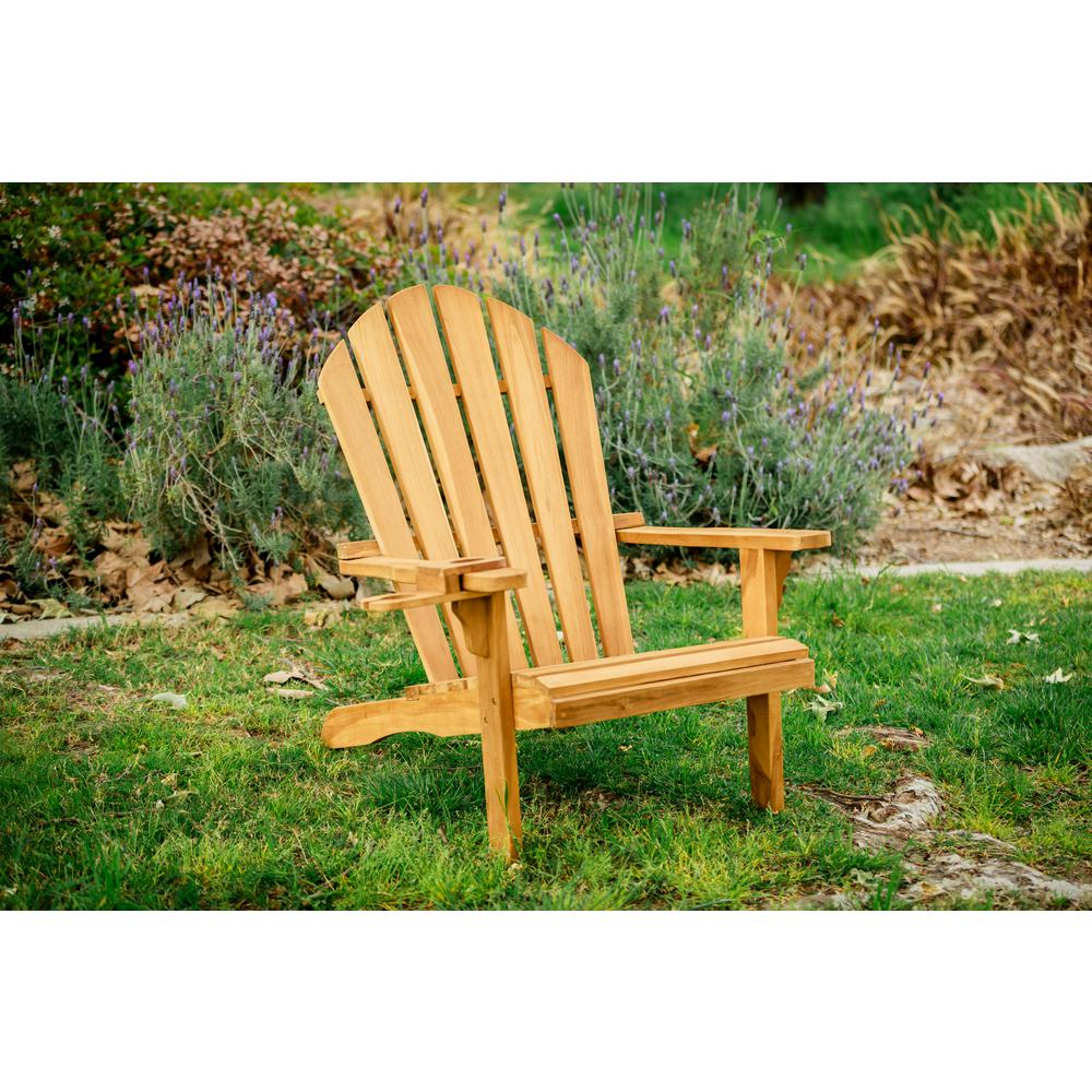 LuXeo Redondo Teak Wood Adirondack Chair and Cup Holder