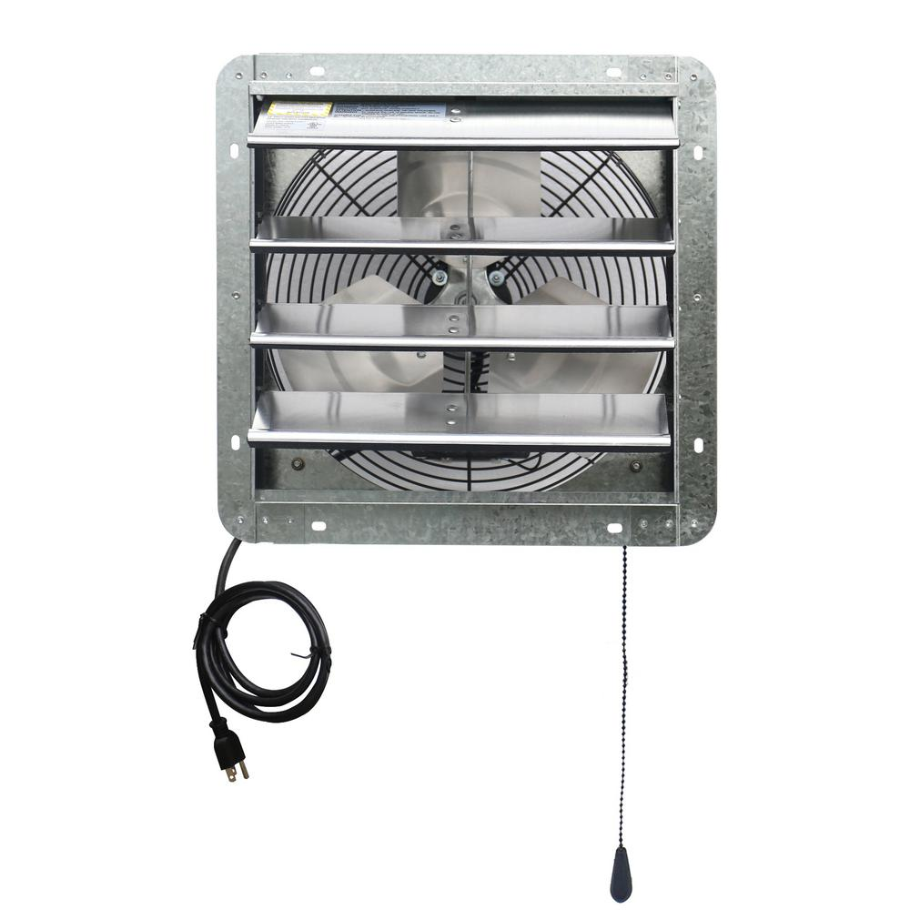 iLIVING 850 CFM 14 in. Power Exhaust Shutter Attic Garage Grow Fan with 3 Speed Thermostat, 6 ft. L 3 Plugs Cord