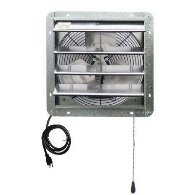 850 CFM 14 in. Power Exhaust Shutter Attic Garage Grow Fan with 3 Speed Thermostat, 6 ft. L 3 Plugs Cord