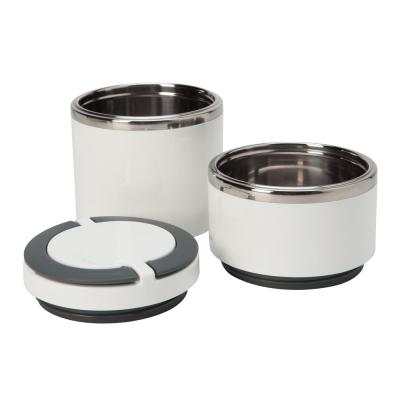 White 2-Tier Round Twist Stainless Steel Insulated Lunch Box