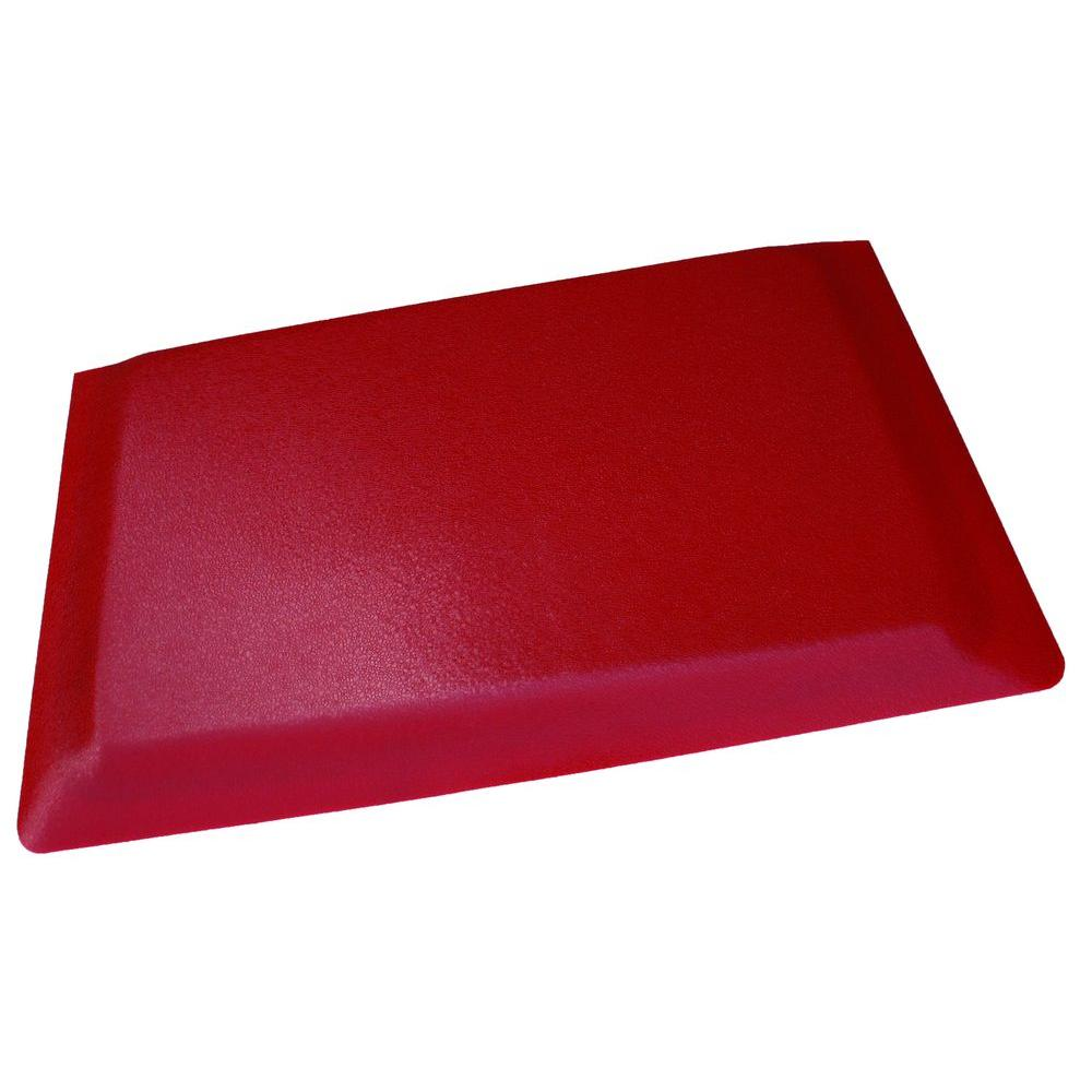 Rhino Anti Fatigue Mats Hide Double Sponge Pebble Brushed Red Surface 24  In. X 96 In. Vinyl Kitchen Mat RHK2496SNRSDS   The Home Depot