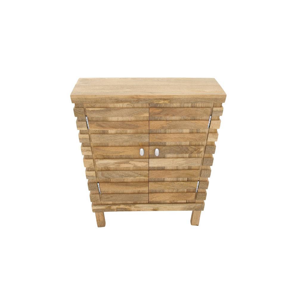 Oak Brown Slat Design Wooden 2-Door Cabinet