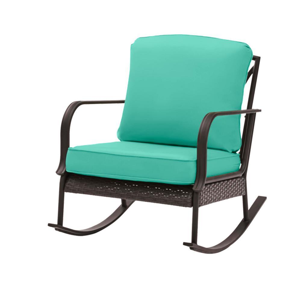 Becker Dark Mocha Steel Outdoor Patio Rocking Chair with CushionGuard Seaglass Turquoise Cushions
