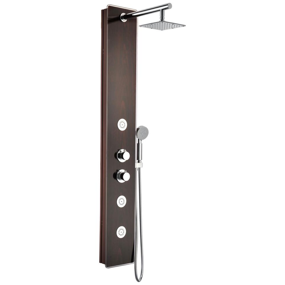 ANZZI Pure 59 in. 3-Jetted Full Body Shower Panel System with Heavy Rain Shower and Spray Wand in Mahogany Style Deco-Glass