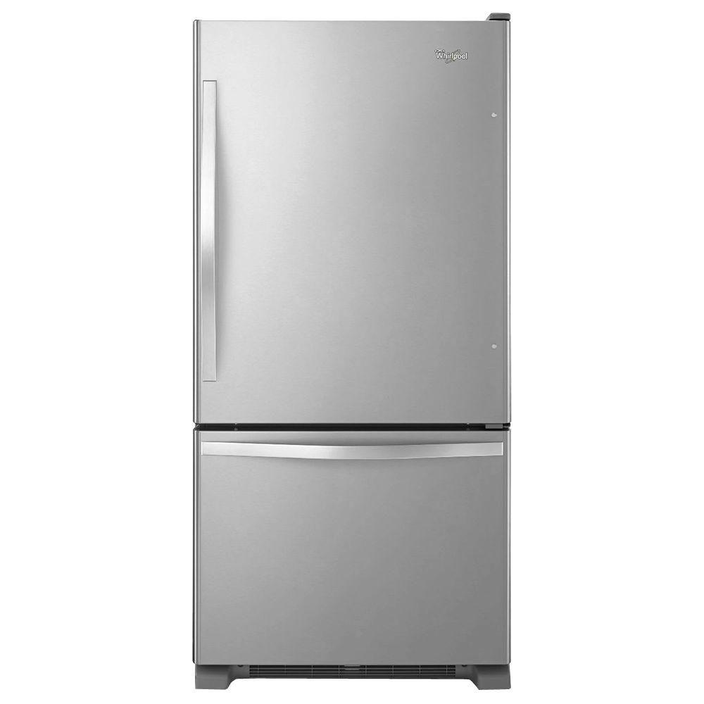 Bottom freezer refrigerator in monochromatic stainless steel