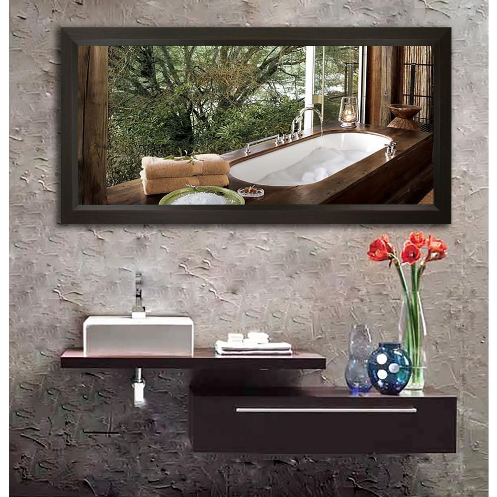 70.25 in. x 35.25 in. Dark Walnut Double Vanity Wall Mirror