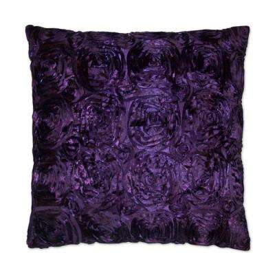 Silk Roses Purple Feather Down 24 in. x 24 in. Standard Decorative Throw Pillow