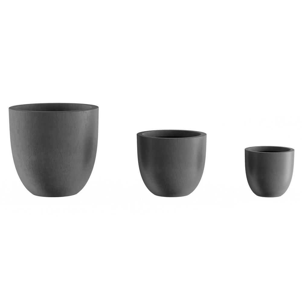 Pure Garden Gray Fiber Clay Tapered Planters (3-Pack)