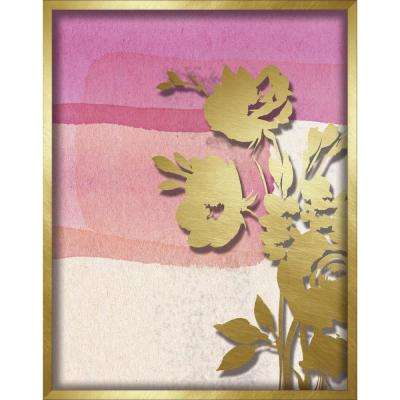 """11 in. x 14 in. """"Pink Abstract Watercolor W. Peony Silhouette"""" Shadowbox Wall Art"""