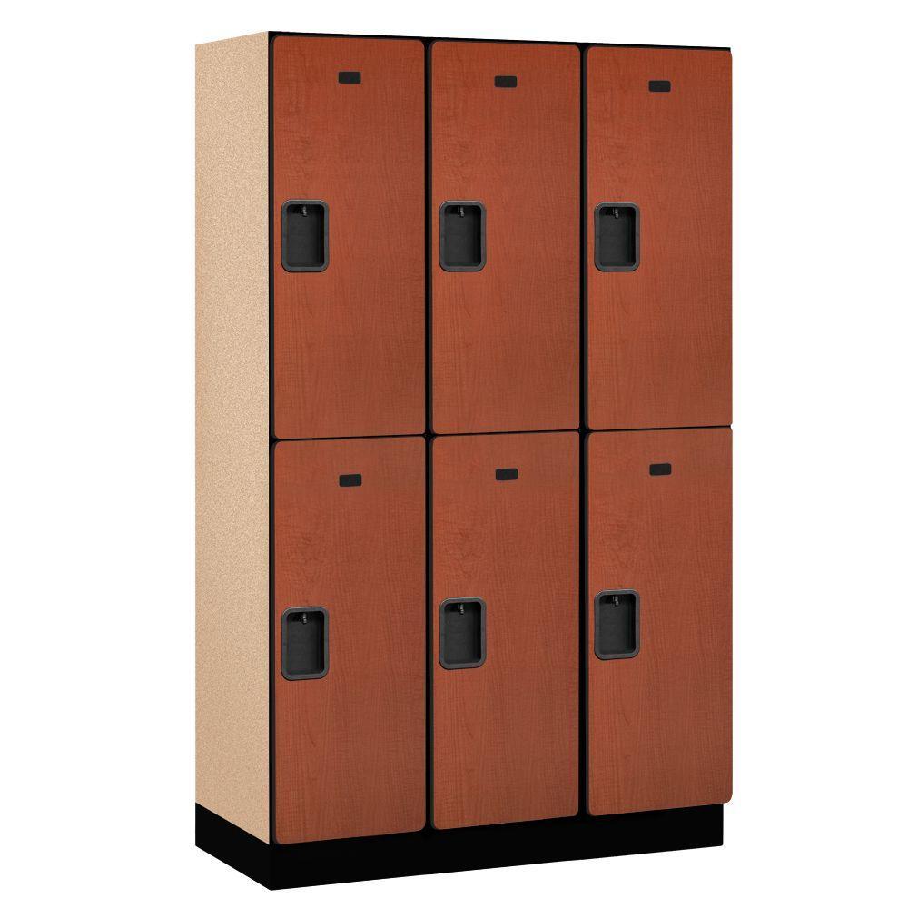 Salsbury Industries 22000 Series 2-Tier Wood Extra Wide Designer Locker in Cherry - 15 in. W x 76 in. H x 18 in. D (Set of 3)