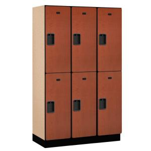 22000 Series 2-Tier Wood Extra Wide Designer Locker in Cherry - 15 in. W x 76 in. H x 18 in. D (Set of 3)