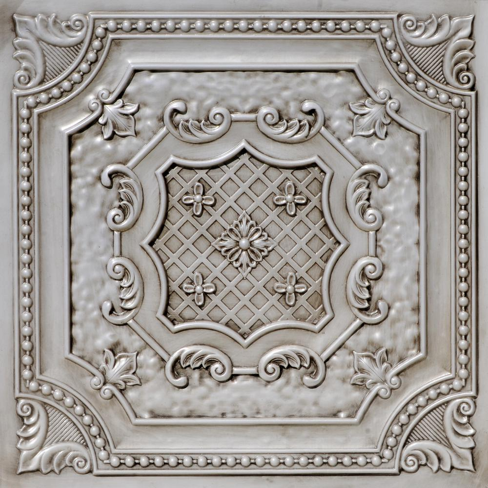1b35995635db From Plain To Beautiful In Hours Elizabethan Shield 2 ft. x 2 ft. PVC  Glue-up or Lay-in Ceiling Tile in Antique White