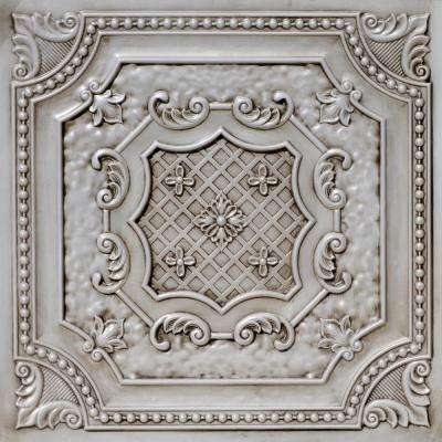 Elizabethan Shield 2 ft. x 2 ft. PVC Glue-up or Lay-in Ceiling Tile in Antique White