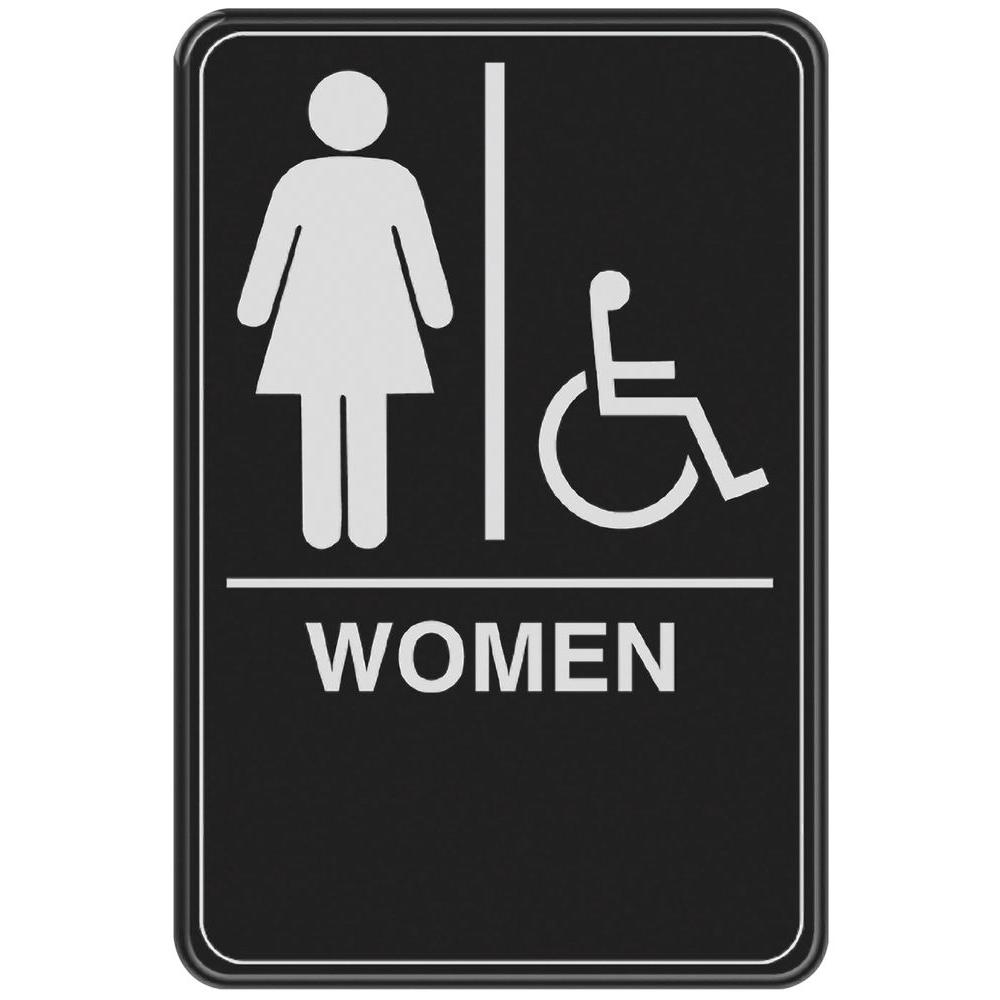 In X In Women With Handicap Accessible Symbol Acrylic Restroom - Handicap bathroom sign