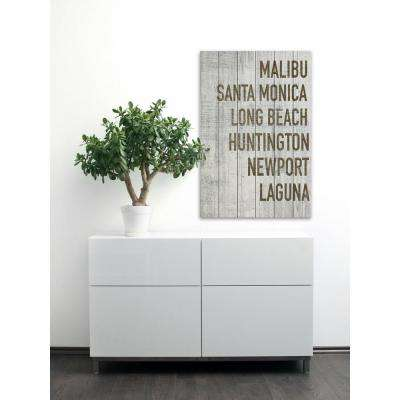 "60 in. H x 40 in. W ""Beaches of California in Grey"" by Marmont Hill Printed White Wood Wall Art"