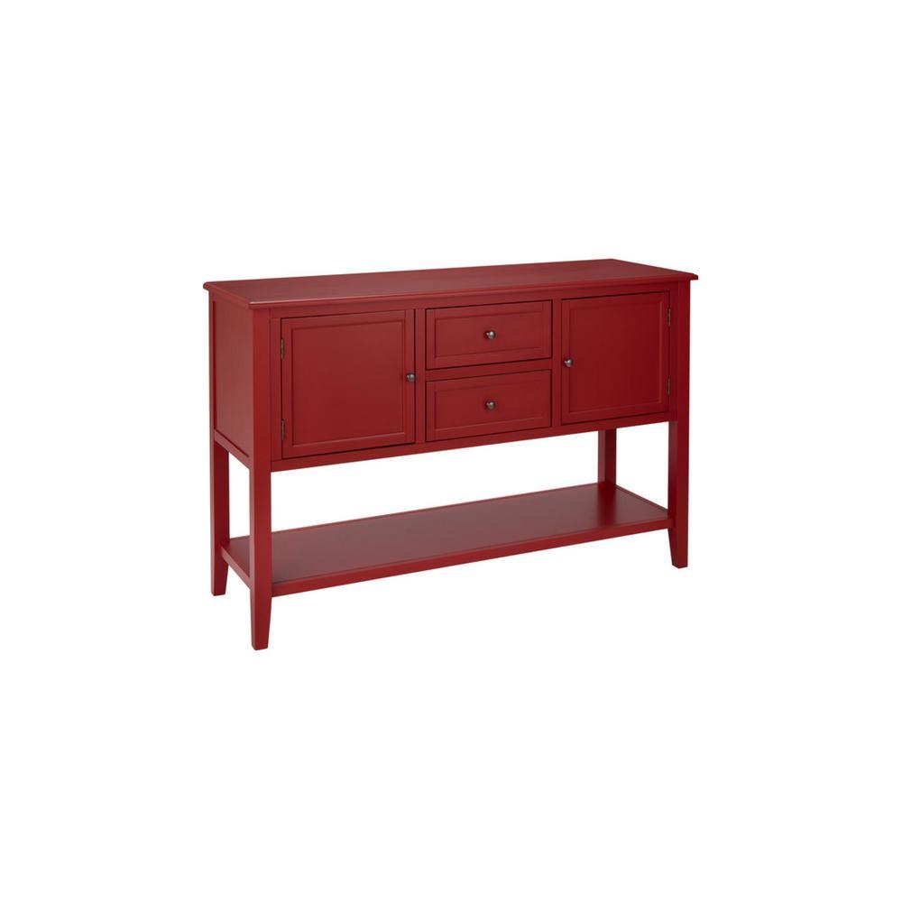 Burton Ridge Rectangular Chili Red Wood Console (56 in. W x 36 in. H)