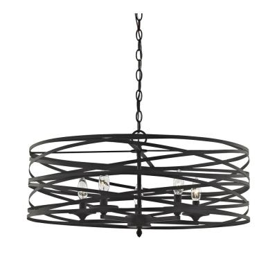 Vorticy 5-Light In Oil Rubbed Bronze Chandelier with Metal Shade