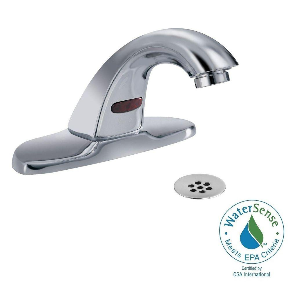 Attrayant Delta Commercial Battery Powered Single Hole Touchless Bathroom Faucet With  4 In. Centerset In