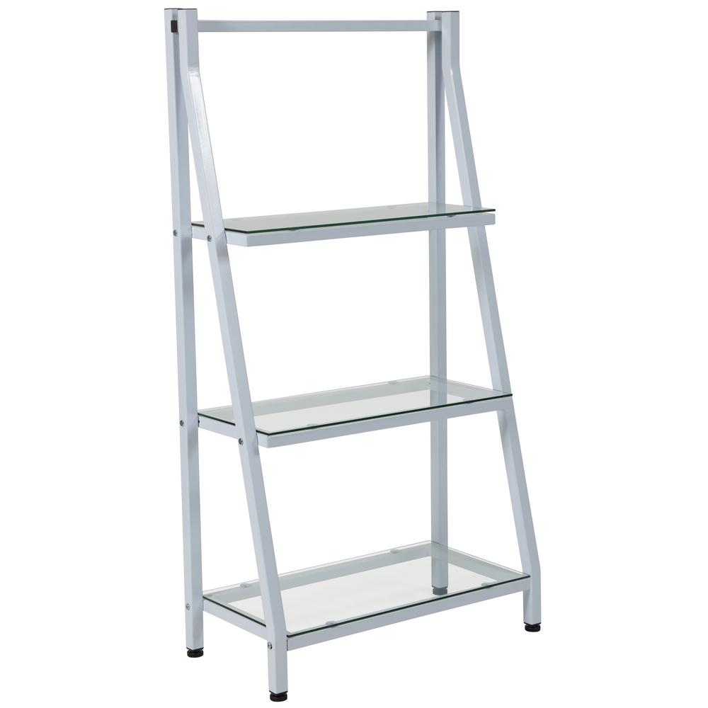 Clear Top White Frame Bookcase