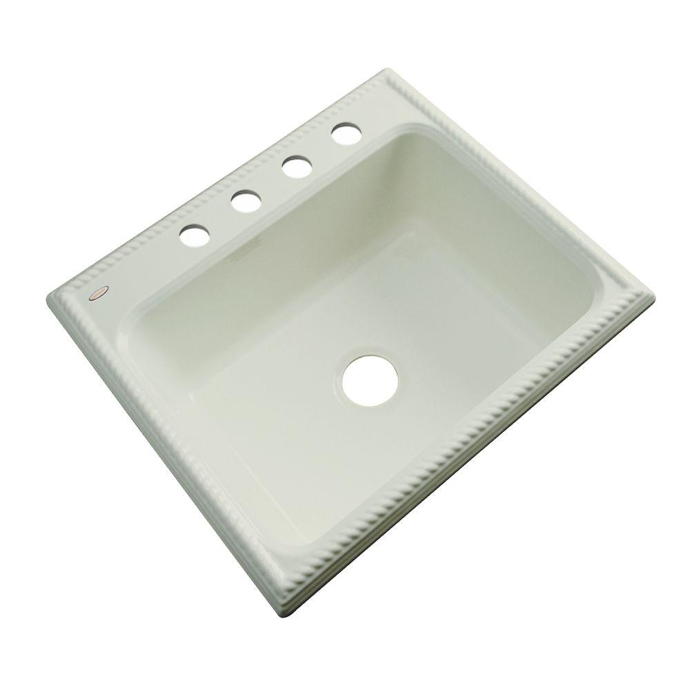 Thermocast Wentworth Drop-In Acrylic 25 in. 4-Hole Single Basin Kitchen Sink in Jersey Cream