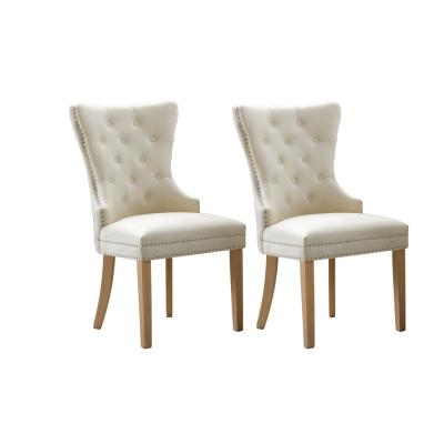 Troyes Beige Upholstered Wingback Chair