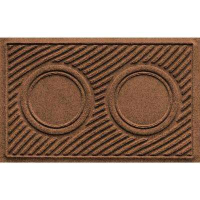 Dark Brown 18 in. x 28 in. Dog Bowl Wave Pet Mat