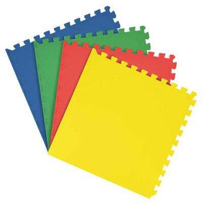 Multicolored 24 in. x 24 in. Interlocking Anti Fatigue Foam Tiles (16 sq. ft./case)
