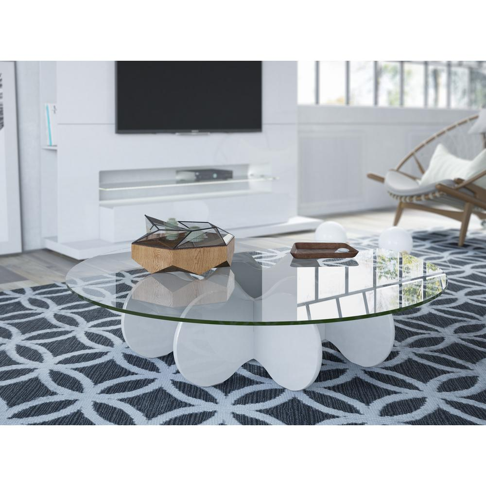 Manhattan Comfort Waverly White Gloss Coffee Table