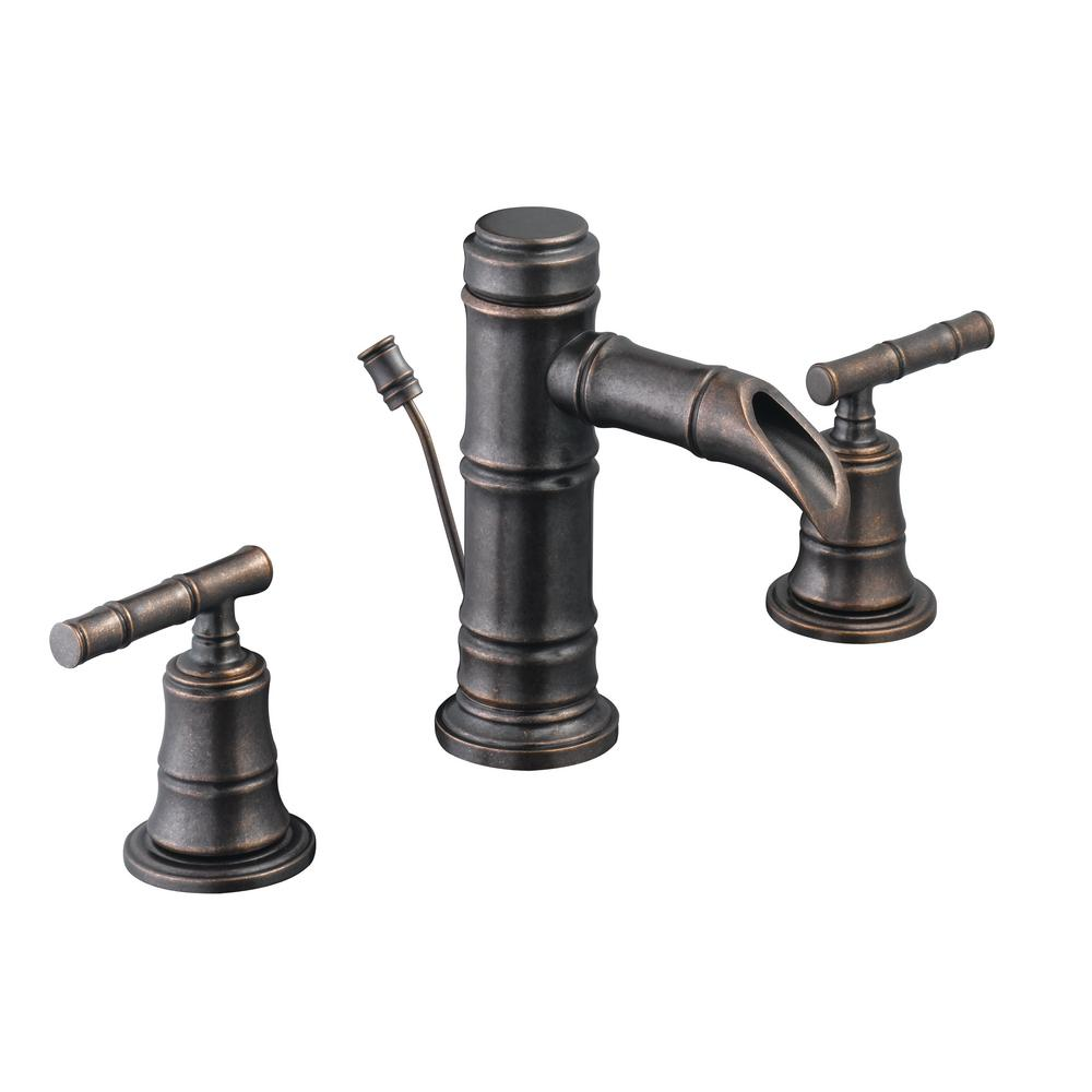 Pegasus Bamboo 8 in. Widespread 2-Handle Low-Arc Bathroom Faucet in ...