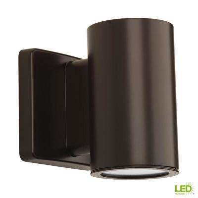 Cylinders Collection 1-Light Antique Bronze Integrated LED 5.6 in. Outdoor Wall Mount Cylinder Light