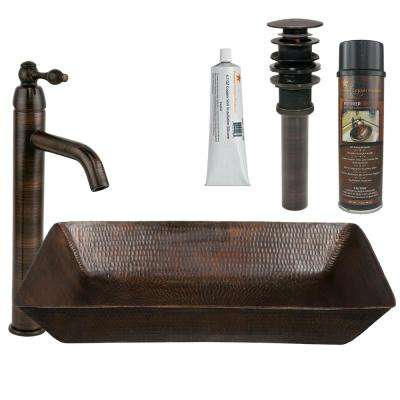 All-in-One Rectangle 20 in. Hammered Copper Vessel Sink and Faucet in Oil Rubbed Bronze