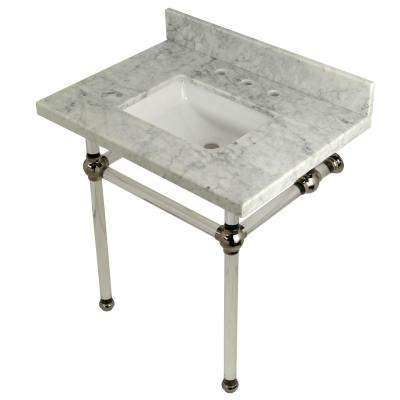 Square-Sink Washstand 30 in. Console Table in Carrara Marble with Acrylic Legs in Polished Nickel