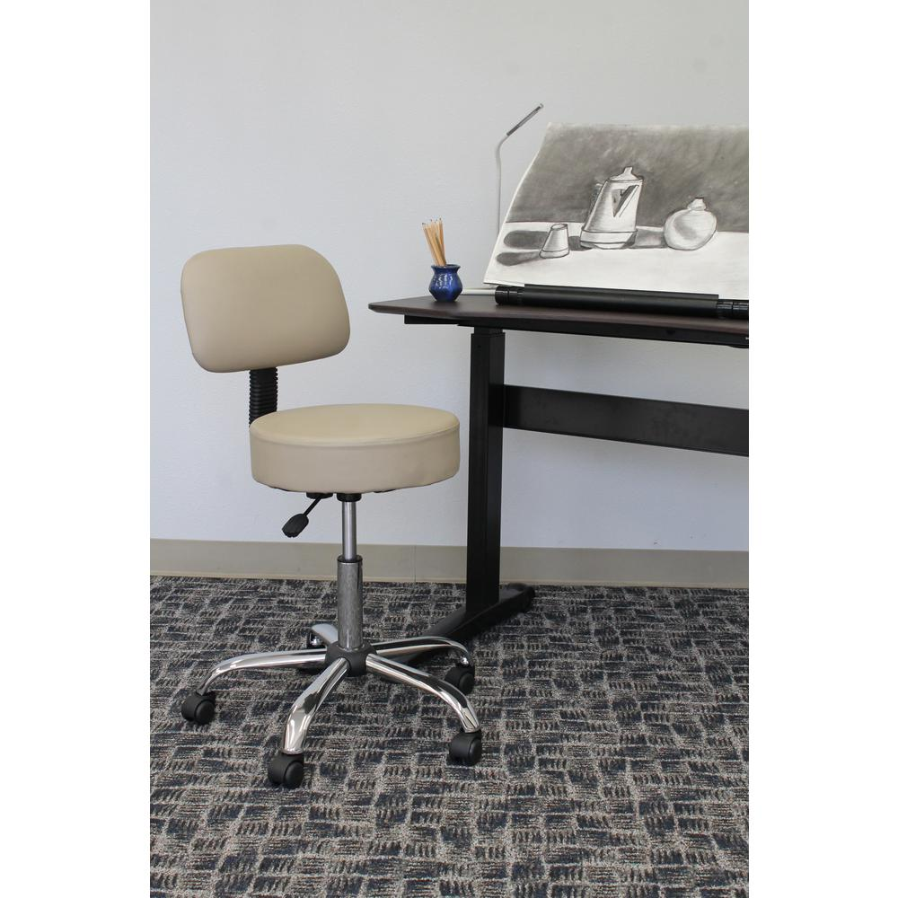 Boss Beige Caressoft Medical Stool with Back