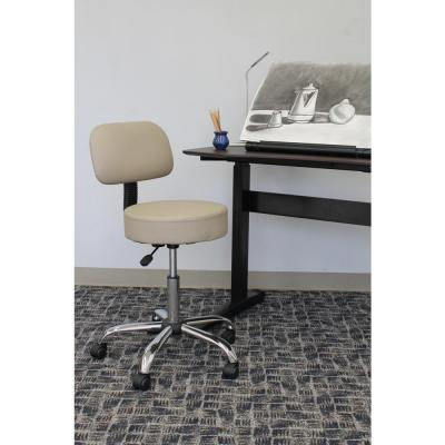 WorkPro Medical Stool with Back Cushion. Beige Vinyl with Chrome Finish Base. Pnuematic Lift