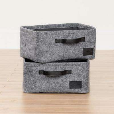Storit Gray Small Woven Felt Baskets (2-Pack)