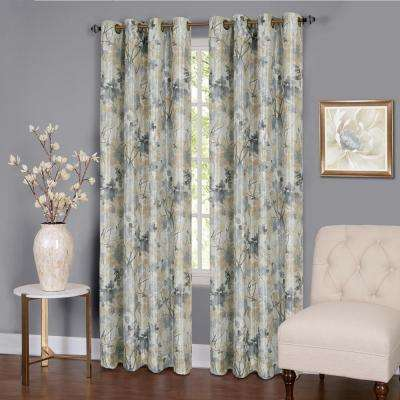 Tranquil  84 in. L Grommet Window Curtain Panel in Silver Lined