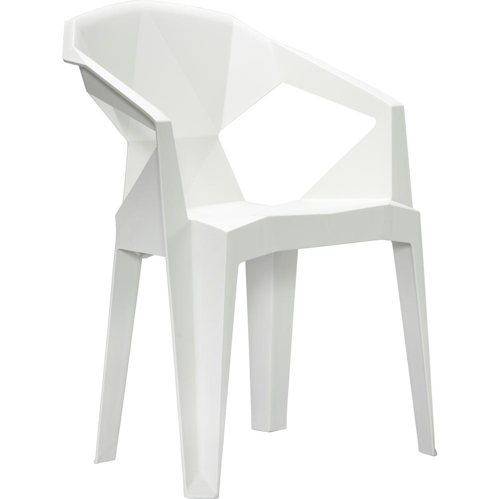 Vifah Stacking Plastic Outdoor Dining Chair 2 Chairs Included In White