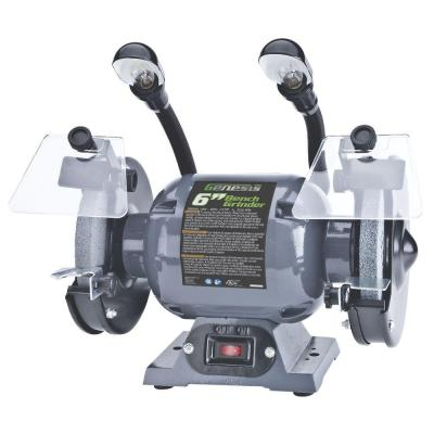6 in. Bench Grinder with Dual, Flexible Lights and Eye Shield