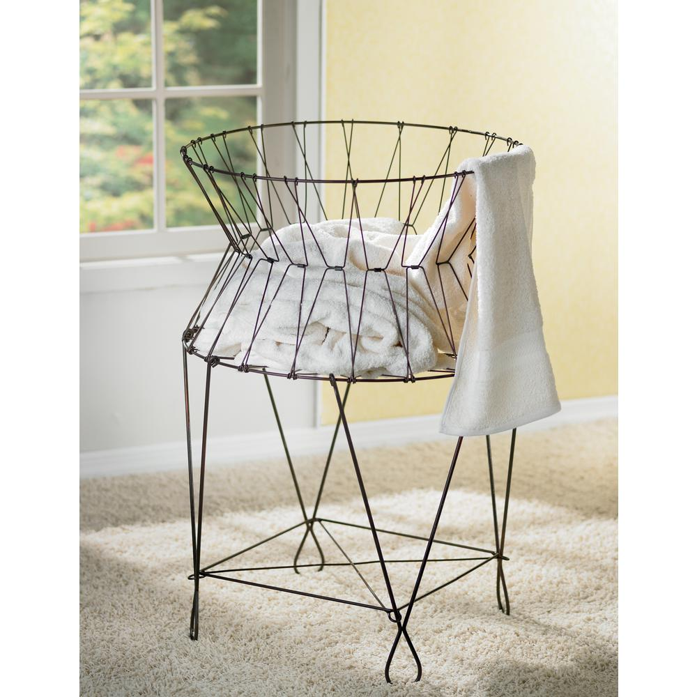 Vintage Wire Collapsible Laundry Basket Hamper-A1031 - The Home Depot