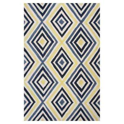 Ivory/Blue Dimensions 5 ft. x 7 ft. All-Weather Area Rug